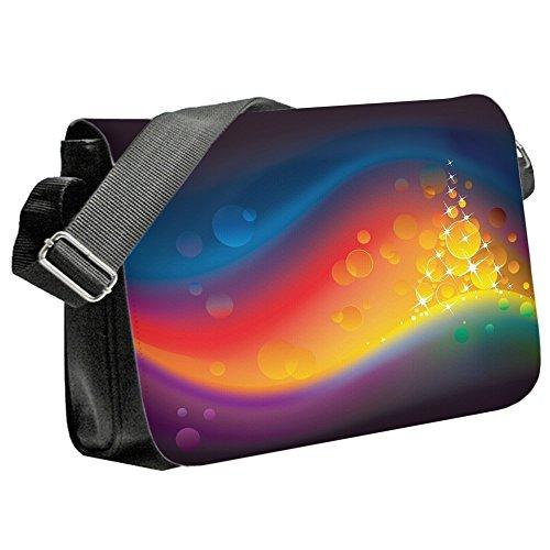 Astratto 10001, Colorato, Unisex Nero Sublimazione Borsa a tracolla Reporter Bag con Spallacci regolabili e Motivo Colorato.Dimensione:Medio-23x33x6cm