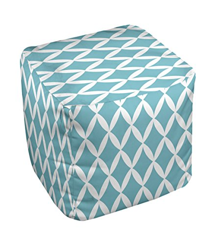 E by design FG-N1-Bahama_White-18 Geometric Pouf