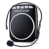 WinBridge WB001 Ultralight Portable Voice Amplifier Waist Support MP3 Format Audio for Tour Guides, Teachers, Coaches, Presentations, Costumes, Etc.-Black