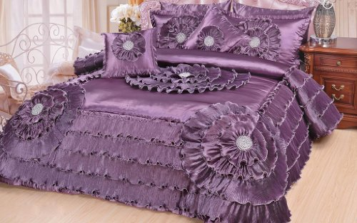 Dada Bedding Quinceanera 5-Piece Victorian Satin Comforter Set, Queen, Purple