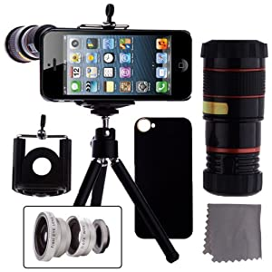 ECO-FUSED® 4 in 1 iPhone 5 Camera Lens Kit Includes / 8x Black Telephoto Manual Focus Telescopic Camera Lens with Tripod / 3 Quick-Connect Lens Solution (Fisheye Lens, Macro Lens, Wide-angle Lens) / 1 Universal Holder / 1 Mini Tripod / 1 iPhone 5 Protection Case / 1 ECO-FUSED® Microfiber Cleaning Cloth included
