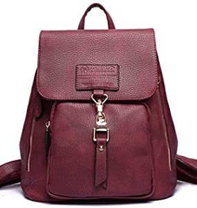 Coofit Korean PU Leather Backpack for College School Bag Bookbag