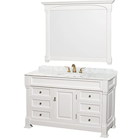 Wyndham Collection Andover 55 inch Single Bathroom Vanity in White with White Carrera Marble Top with White Undermount Sink