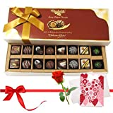 Valentine Chocholik's Belgium Chocolates - Lovely Truffles Treat With Love Card And Rose