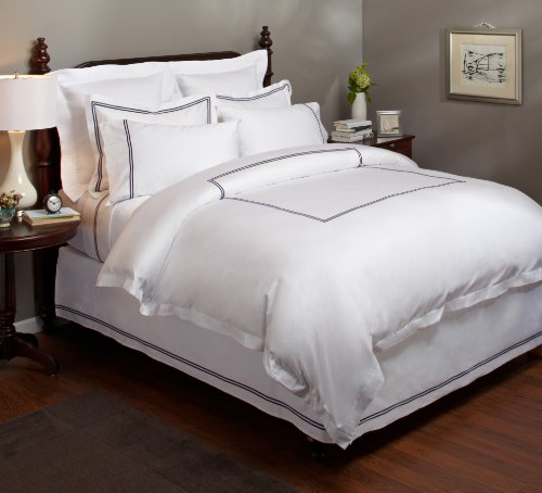 Cheap Pinzon Hotel Stitch 400-Thread-Count 100-Percent Egyptian Cotton Sateen Duvet Cover, Full/Quee...