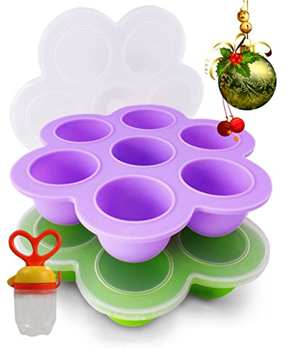 Beezy Beez Baby Food Storage Containers for Freezer with Lids, Set of 2. Best Tray System For Storing, Organizing and Freezing Homemade Foods. BPA Free, FDA Approved, Safe, Non-toxic Silicone (Baby Freezing Containers compare prices)