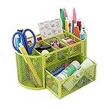 HITOP-Schreibtischorganizer-Multifunktion-Metall-Mesh-Gitter-Buero-Aufbewahrung-Organizer-Stiftbehaelter-Schreibtischbox-Desktop-Organizer-Mit-Schublade-Grn