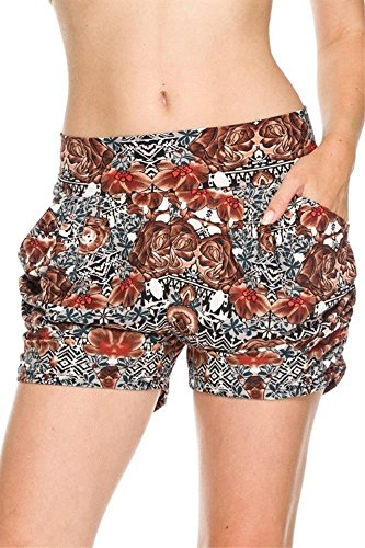 Simlu Womens Abstract Floral Shorts Casual Summer Shorts with Pockets, Abstract Floral, Large / X-Large,Large / X-Large,Abstract Floral Women 40 Casual Shorts
