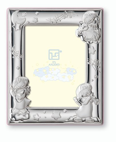 Silver Touch USA Sterling Silver Angels Picture Frame, Pink