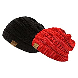 Trendy Warm Chunky Soft Stretch Cable Knit Slouchy Beanie Skully HAT20A (Black/Red)