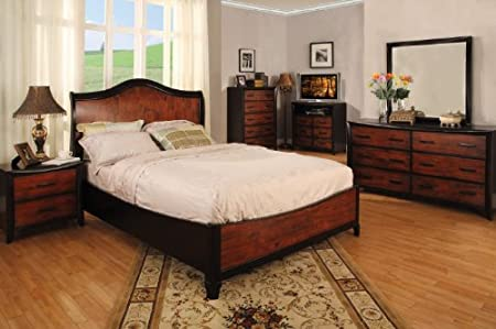 Inland Empire Furniture Queen Size SiennaII Two Tone Oak & Espresso Solid Wood Low Profile Bed