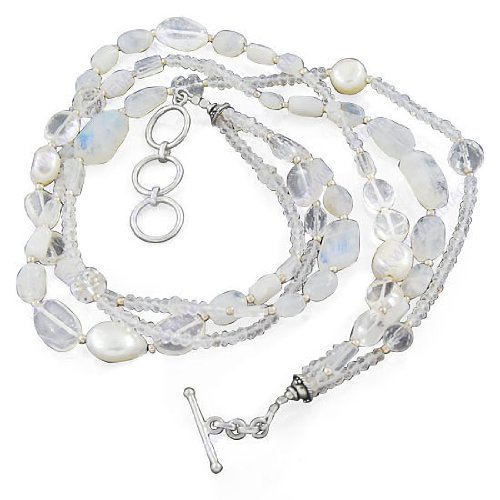925 Sterling Silver Natural Rainbow Moonstone & White Topaz Gemstone Beaded Finding Beads Strand 19 Inches Necklace Jewelry