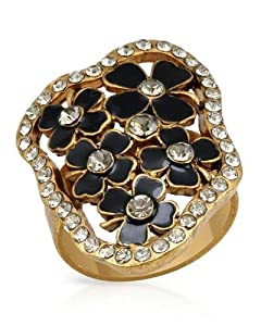 PILGRIM SKANDERBORG, DENMARK Pleasant Adjustable Ring With Genuine Crystals Well Made in Yellow Base metal and Black Resin. Total item weight 6.6g