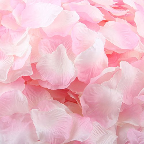 "LEFVâ""¢ 1000pcs Silk Rose Petals Artificial Flower Wedding Party Vase Decor Bridal Shower Favor Centerpieces Confetti Decorations (40 Colors for Choice)- Light Pink"