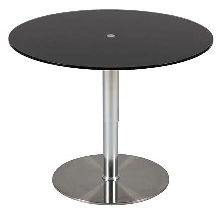 Table relevable noir en hauteur, Diam 900 X Ht de 430 à 710 mm -PEGANE-