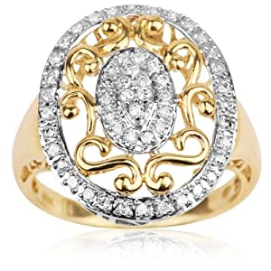 10k Yellow Gold 0.25 ctw Diamond Filigree Vintage Cameo Inspired Ring; size 5.5