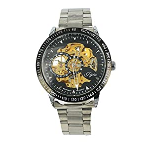 Gift In Box Sliver Skeleton Dial Stainless Steel Strap Automatical Mechanical Men's Watch G8119-1