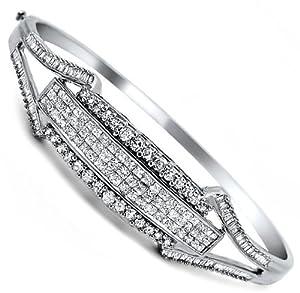 2.60ct Princess Cut Diamond Bangle Bracelet 14k White Gold