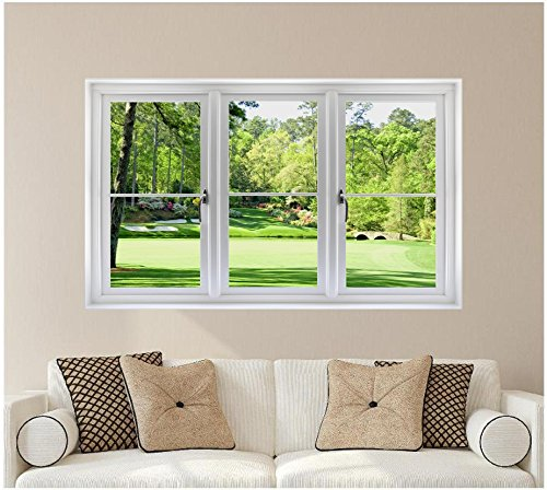 48 golf course window wall decal hole 12 at augusta for Augusta national wall mural