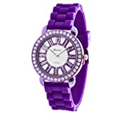 Purple Geneva Watch Silicone Jelly Band CZ Accented Bling Bezel - SHINY PURPLE