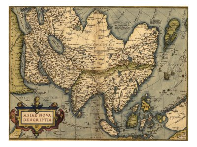 1570 Map of Asia, from Abraham Ortelius' Atlas Giclee Poster Print, 9x12