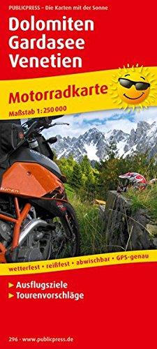 Motorradkarte Dolomiten - Gardasee - Venetien: Mit Ausflugszielen und Freizeittipps, wetterfest, reissfest, abwischbar, recycelbar, GPS-genau. Mit Tourenvorschlägen. 1:250000