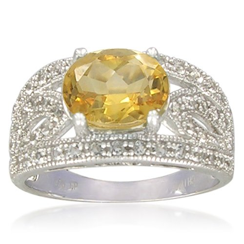 Sterling Silver 7x9mm Oval Shape Citrine with White Topaz Accents Ring, Size 7