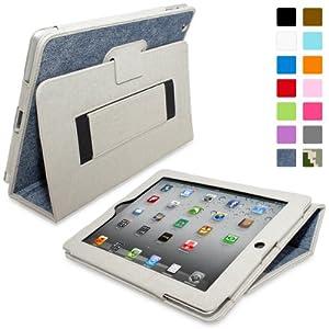 Snugg Étui Pour iPad 2 - Smart Cover Avec Support Pied Et Une Garantie à Vie (En Cuir Bleu Jean) Pour Apple iPad 2