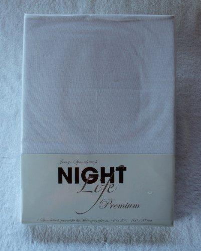 NightLife Jersey Spannbettlaken Farbe off-white creme Größe 180 x 190 bis 200 x 200 cm Spannbettuch Spannlaken mit Rundumgummi 100% Baumwolle