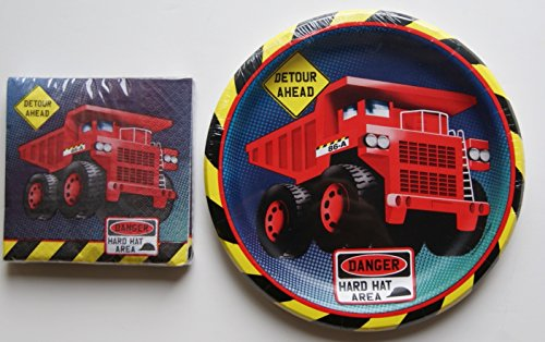 Construction Truck Party Supply Dinner Kit - Plates and Napkins