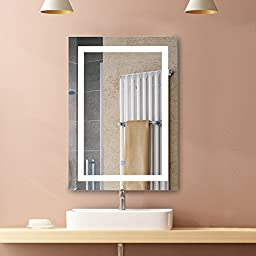 Wakrays Led Illuminated Lighted Bathroom Mirror, Wall Mounted Large Vanity Mirrors with Touch Button