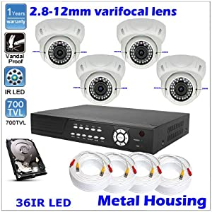 4 Ch DVR H.264 iPhone Network Sony 700TVL Dome CCTV Security Camera + 500GB HDD