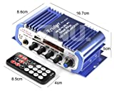 ZNU 2CH Mini Car Home FM USB MP3 Audio Stereo Speaker Amplifier AMP HI-FI Mic Mixer