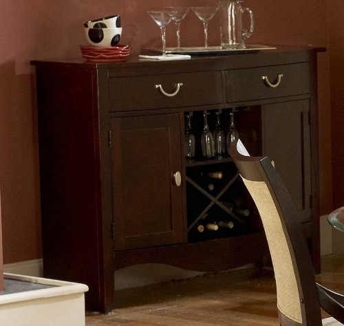 Cheap Sideboard Server with Glass Rack in Dark Cherry Finish (VF_HE1377-40)