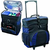 Deluxe 24 Can Insulated Cooler Bag On Wheels, Navy with Black by BAGS FOR LESSTM