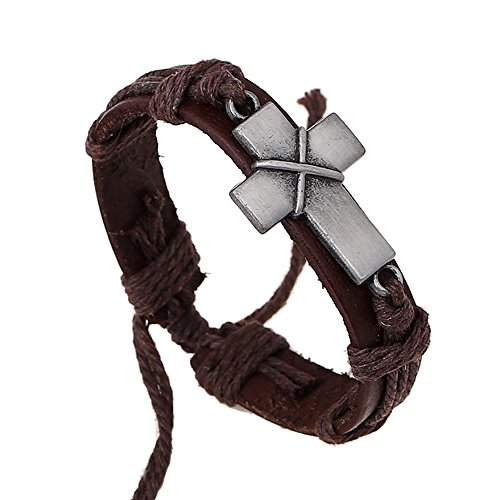 Nice Buckeye Simple Style Cross of Christ Studded Adjustable Length Leather Bracelet
