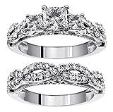 2.50 CT TW 3-Stone Princess Cut Diamond Engagement Bridal Ring Set in 14k White Gold Braided Setting