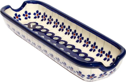 "Polish Pottery Corn-On-The-Cob Dish From Zaklady Ceramiczne Boleslawiec 1517-166A Floral Peacock Pattern, Dimensions: Length: 8.75"" Width: 3"""