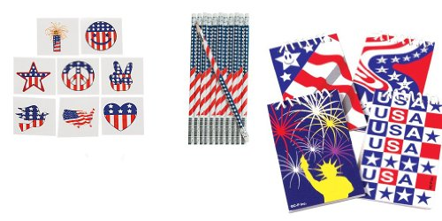 60 USA - PATRIOTIC - PARTY FAVORS - 36 Tattoos - 12 PENCILS - 12 NOTEPADS 4th of JULY