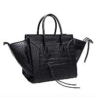 Kattee Women's 2-Shape Crocodile Embossed Cow Leather Bat Handbag