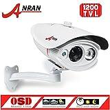 ANRAN 1200TVL SONY IMX138 CMOS Sensor High Resolution Array 1 IR Long Range Color Day Night Vision Infrared Security Waterproof Outdoor Surveillance CCTV Camera White