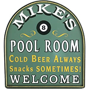 Pool Room - Billiard Sign Personalized Framed 12x11
