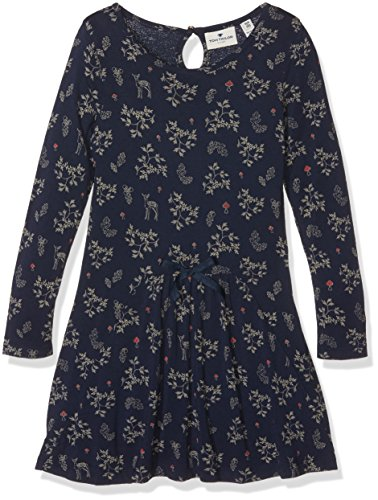TOM TAILOR Kids allover print jersey dress, Vestito Bambina, Blu (agate stone blue), 110 (Taglia Produttore: 104/110)