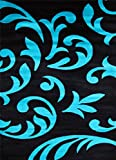 5903 Turquoise Black 7'10x10'2 Area Rug Modern Carpet Large New