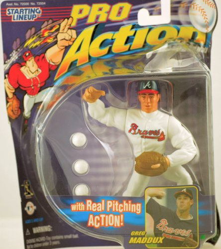 1998 - Hasbro - Starting Lineup - Pro Action Baseball - Greg Maddux - Atlanta Braves - Real Pitching Action - Vintage Action Figure & 3 Balls - Limited Edition - Collectible
