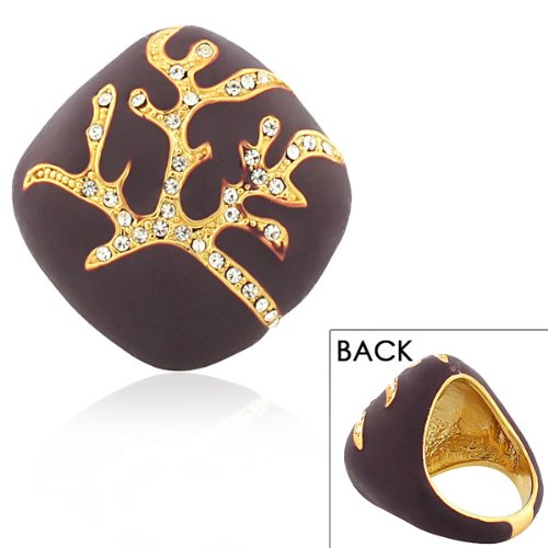 Stainless Steel Yellow Gold Plated Brown White Crystals Cz Tree Of Life Statement Cocktail Womens Ring (7)