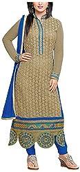 Fashions World Women's Net Dress Material (Green)