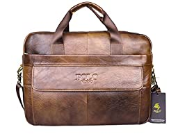 VIDENG POLO® Hotest Men\'s Top Genuine Leather Handmade Briefcase Shoulder Messenger Business Bag From Italy Design (CP-Wild Brown)