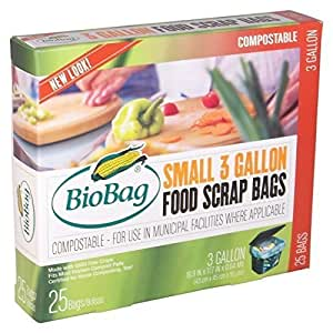 Biobag, Food Waste Bags, 3 Gallon, 25 Count (Pack of 4)