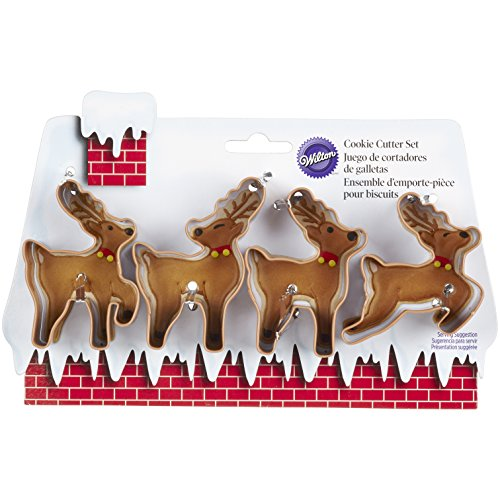 Wilton 2308-5075 4-Piece Christmas Reindeer Metal Cookie Cutter Set, Small